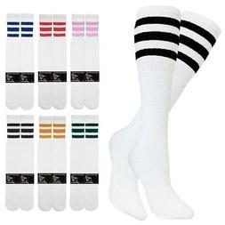 "1-4 Pair Cotton 3 Stripe Knee High Tube Socks Old School 24"""