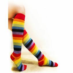 1 Pair Rainbow Girl Long Boot Socks Pride Striped Knee High