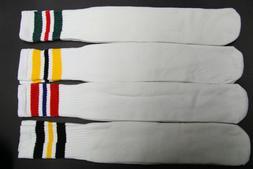 1 pairs 24 INCH LONG TUBE SOCKS WHITE STRIP MEN'S & WOMEN'S