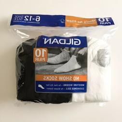 Gildan ~ 10-Pair Men's White Black No Show Socks Sock Size 1
