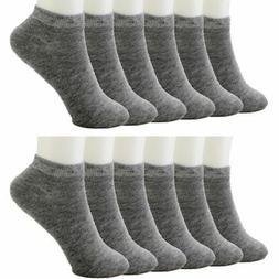 12 Pack Ankle Socks Cotton Men Womens Size 10-13 Low Cut Cre