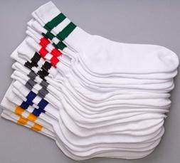 12 Pairs 1 Dozen Old School Striped Crew Socks Retro Athleti