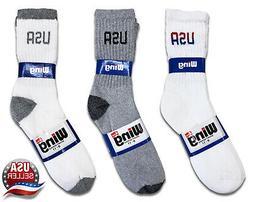 12 Pairs Mens USA Logo Socks Sport Cotton Crew American Them