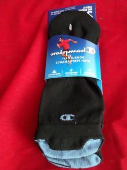2 Pair Champion Low Profile Running Black Double Dry Socks H