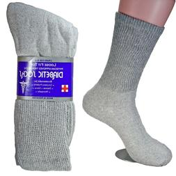 3,6,12 Pairs Diabetic Crew Circulatory Socks Health Women Cotton 9 10-15 long GY