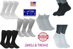 1 3 6 12 24 Pairs Men's Circulatory Diabetic Crew Socks Size