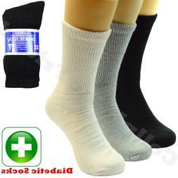 3 6 12 Pairs Lot For Men's Circulatory Diabetic Crew Socks S