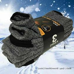 3 Pairs Mens Winter Heavy Duty Warm Thermal Crew Work Boots