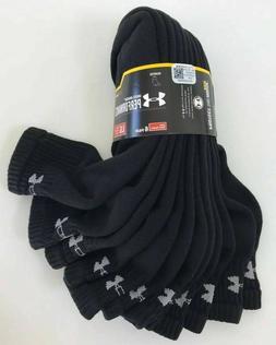 6 Pairs UNDER ARMOUR UA Cotton Heat Gear QUARTER BLACK Socks