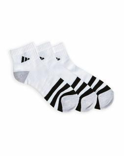3 Pair Adidas Quarter Length Socks, Men's Shoe Size 6-12, Wh