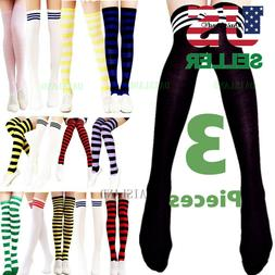 3 Women's Striped Thigh High Socks Sheer Over The Knee Plus