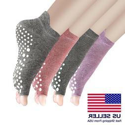 4 pack Women Yoga  Socks Non Slip Skid Pilates Barre New Fas