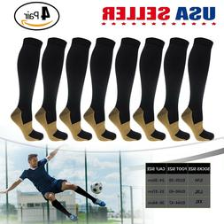 4 Pairs Copper Compression Socks 20-30mmHg Graduated Support