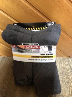 5 Pair Dickies Crew Work Socks Dri-Tech Men's 6-12 Gray Bran