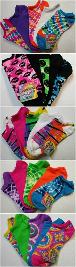 5 Pairs Girls No Show Socks Psychedelic Tie Dye Print Solid