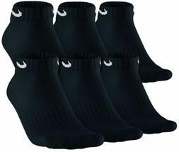 $55 NIKE Men`s 6 Pair Pack BLACK COTTON Low-Cut Ankle Athlet