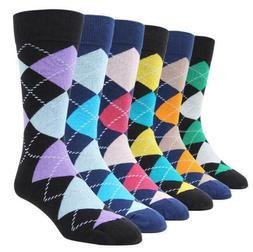 6-pack Men Dress Socks Design Argyle Diamond Mid Calf Colorf