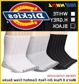 6 Pack Dickies Mens Dri-Tech Comfort Crew Socks White Black
