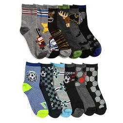 6 Pair Boys Crew Socks Kids Shoe Size 4-6 Years Cartoon Patt