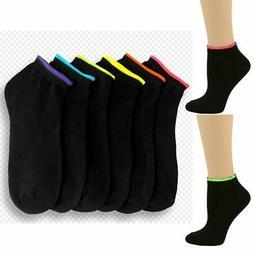 6 Pair Girls Ankle Sports Socks Low Cut Black Neon Color Cas
