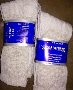 6 Pair Men's GRAY Diabetic Socks KING Size 13-15 Cotton Casu