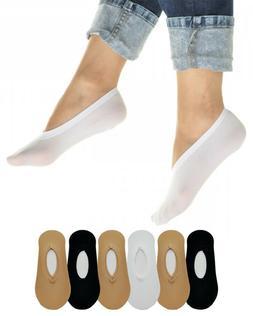 6 Pairs Women's No Show Liner Socks - White, Black, Beige Pe