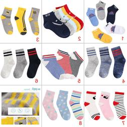 Ankle Low Cut 3 5 Pairs Pack Kids Boys Girls Socks Colorful