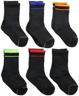 Gold Toe Big Boys' 6 Pack Athletic Crew Sock, Black Assorted