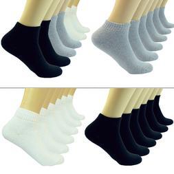 Plain Solid Ankle/Quarter Low Cut Crew Men Cotton Cushioned