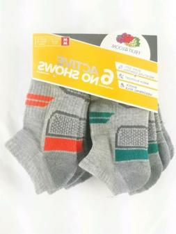 Boys Fruit Of The Loom 6 Active No Show M/M 9 - 2 1/2 Socks.