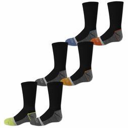 Fruit of the Loom Boys 6 Pack Crew Black Shoe 3-9 Sock Size