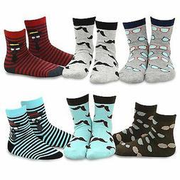 TeeHee Kids Boys Fashion Fun  Crew Socks 6 Pair Pack