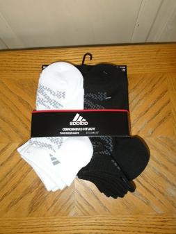 Adidas Boys Youth 6 Pair Low Cut Socks Fit shoe 13C-4Y  NEW