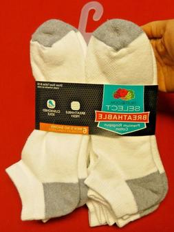 Fruit of the Loom Breathable Men's White No Show Socks   6 p