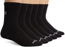 Under Armour Men's Charged Cotton Crew Socks , Black, Large