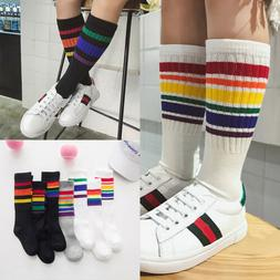 Children Socks Boys Girls Cotton Rainbow Striped Sports Knee