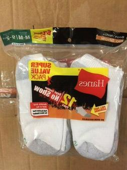 Hanes Ultimate Boys' 12-Pack No-Show Socks, White, Medium