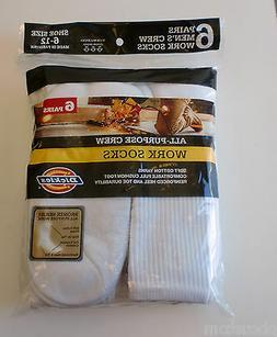 Dickies 6-Pair Cushion Crew Crew Socks White Sock Size:10-13