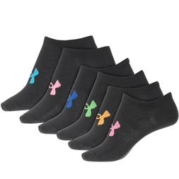 Under Armour 6 PAIR Pack No Show Socks Multi-color YOUTH Gir