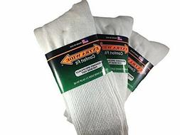 Extra Wide Comfort Fit Athletic Crew  Socks for Men - White