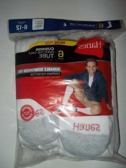 Hanes Men's 6 Pack FreshIQ Cushion Crew Socks, White, 10-13