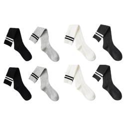 Knee-High Socks Women Cotton Soft Warm Black White Gray Stri