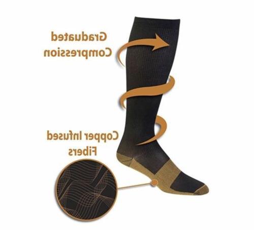 6 Pairs Compression Socks 20-30mmHg Sport S-XXL