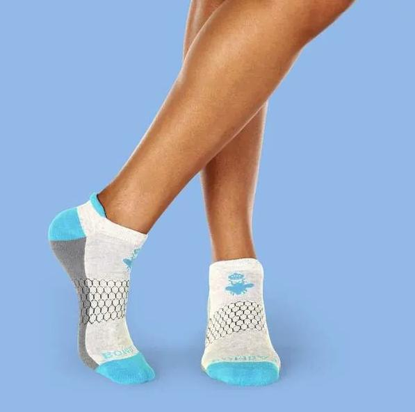 2 Bombas Ankle Socks Grey Blue 100%