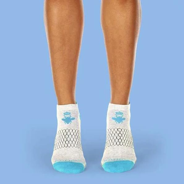 2 PACK Bombas Women's Ankle Socks Blue New Authentic