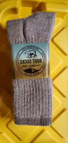 2 Pair Merino Wool Crew Size