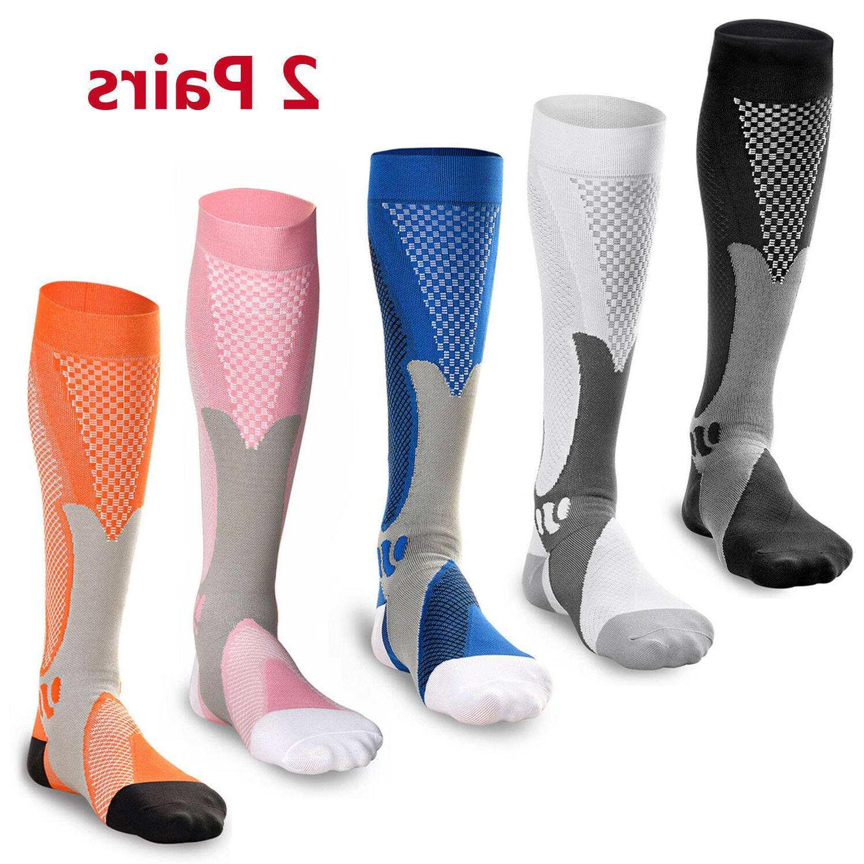 2 Pairs 30-40 mmhg Mens Over Knee High Compression Socks Run