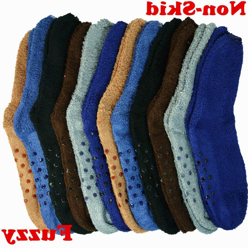 6 Pairs Men Soft Cozy Fuzzy Socks Non-Skid Plain Solid Winte