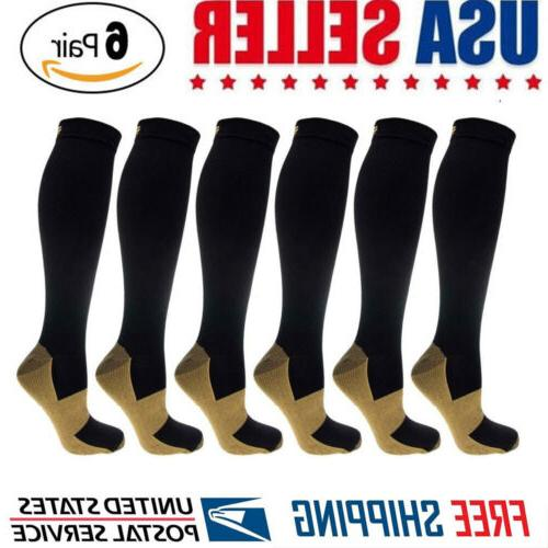 6 pairs copper compression socks 20 30mmhg