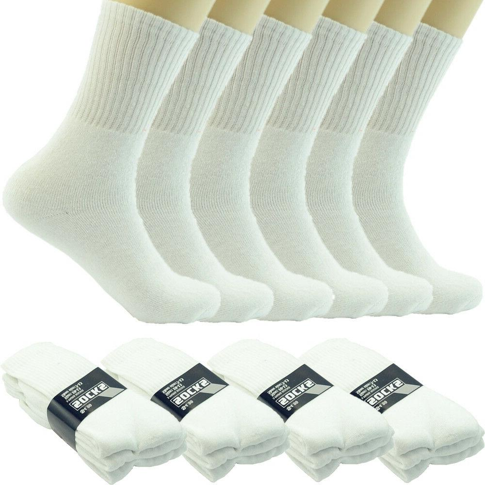 Men White Cushioned Sports Athletic Work Crew Mid Calf Cotto